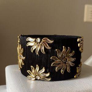 Anthropologie Black and Gold Flower Cuff Bracelet